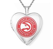 14k White Gold Atlanta Hawks Heart Locket