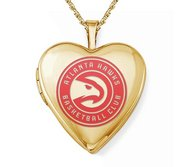 14k Yellow Gold Atlanta Hawks Heart Locket