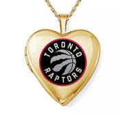 Yellow Gold Filled Toronto Raptors Heart Locket