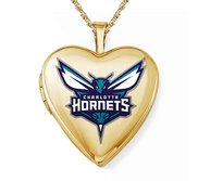 14k Yellow Gold Charlotte Hornets Heart Locket