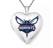14k White Gold Charlotte Hornets Heart Locket
