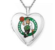 14k White Gold Boston Celtics Heart Locket