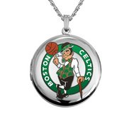 14k White Gold Round Boston Celtics Picture Locket