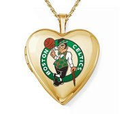 14k Yellow Gold Boston Celtics Heart Locket