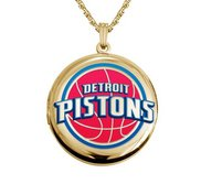 14k Yellow Gold Round Detroit Pistons Picture Locket