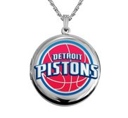 14k White Gold Round Detroit Pistons Picture Locket