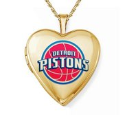14k Yellow Gold Detroit Pistons Heart Locket
