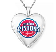14k White Gold Detroit Pistons Heart Locket