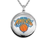 14k White Gold Round New York Knicks Picture Locket