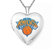14k White Gold New York Knicks Heart Locket