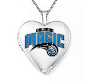14k White Gold Orlando Magic Heart Locket