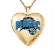 14k Yellow Gold Orlando Magic Heart Locket