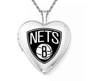 14k White Gold Brooklyn Nets Heart Locket