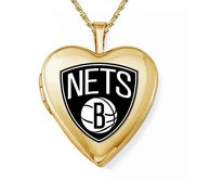 14k Yellow Gold Brooklyn Nets Heart Locket