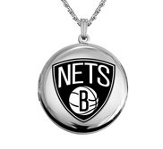 14k White Gold Round Brooklyn Nets Picture Locket