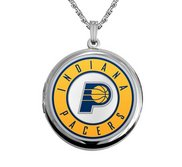 14k White Gold Round Indiana Pacers Picture Locket