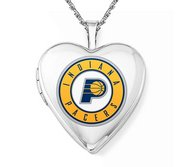 14k White Gold Indiana Pacers Heart Locket