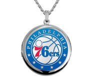 14k White Gold Round Philadelphia 76ers Picture Locket