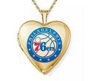 14k Yellow Gold Philadelphia 76ers Heart Locket