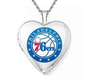 14k White Gold Philadelphia 76ers Heart Locket