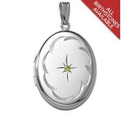 Sterling Silver Hand Engraved Border w  Birthstone Locket