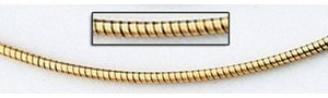 14K Yellow Gold 2mm Round Omega Chain