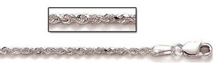 Sterling Silver 3mm Diamond Cut Rope Chain