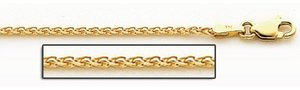 14K Yellow Gold 1 8mm Espiga Wheat Chain