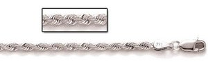 Sterling Silver 6mm Diamond Cut Rope Chain