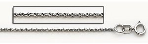 14K White Gold 1 5mm  Cable Link Chain