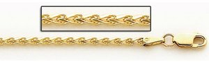 14K Yellow Gold 3 3mm Espiga Wheat Chain