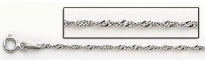 Sterling Silver Diamond 1 8mm Cut Rope Chain