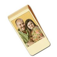 Gold Plate Photo Engraved Money Clip