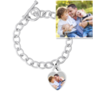 Sterling Silver Tiffany Style Photo Bracelet W/ Toggle Lock