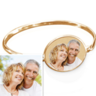 Oval Photo Engraved Bangle Bracelet