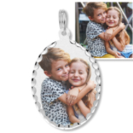 Petite Oval with Diamond Cut Edge Photo Pendant Picture Charm
