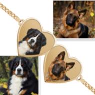 Double Hearts Photo Engrave Bracelet w/ Curb Chain