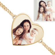 One Heart Photo Engrave Bracelet w/ Curb Chain