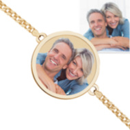 Round Photo Engrave Bracelet w/ Curb Chain