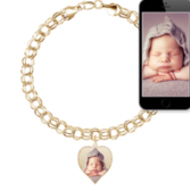 Photo Charm Bracelet w/ 1 Petite Heart Picture Charm