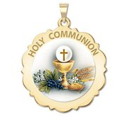 Holy Communion Scalloped Round Religious Medal  Color EXCLUSIVE