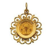 14K Gold First Hold Communion Religious Medal