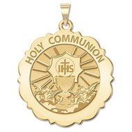Holy Communion Scalloped Round Religious Medal  EXCLUSIVE