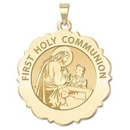 First Holy Communion Scalloped Round Religious Medal  Boy   EXCLUSIVE