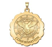 Confirmation Scalloped Round Religious Medal    Holy Spirit Religious Medal  EXCLUSIVE