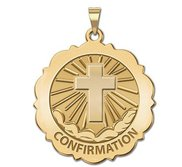 Confirmation  Scalloped Round Religious Medal    Cross  EXCLUSIVE