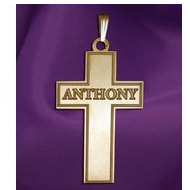 Personalized Cross with  Block Name  Etched