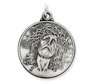 Sterling Silver Antiqued Ecce Homo Medal