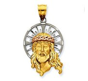 14K Tri Color Jesus Head with Diamond Cut Halo