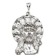 Sterling Silver Polished Jesus Head with Diamond Cut Halo